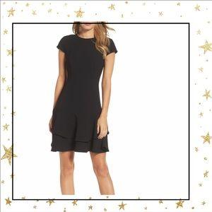 Eliza J Fit& Flare ruffle sheath Black Dress (C5)
